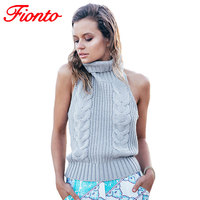 Summer New Turtleneck Sleeveless Long Virgin Killer Sweater Japanes Knitted Sexy Backless Women Sweaters And Pullovers A1474