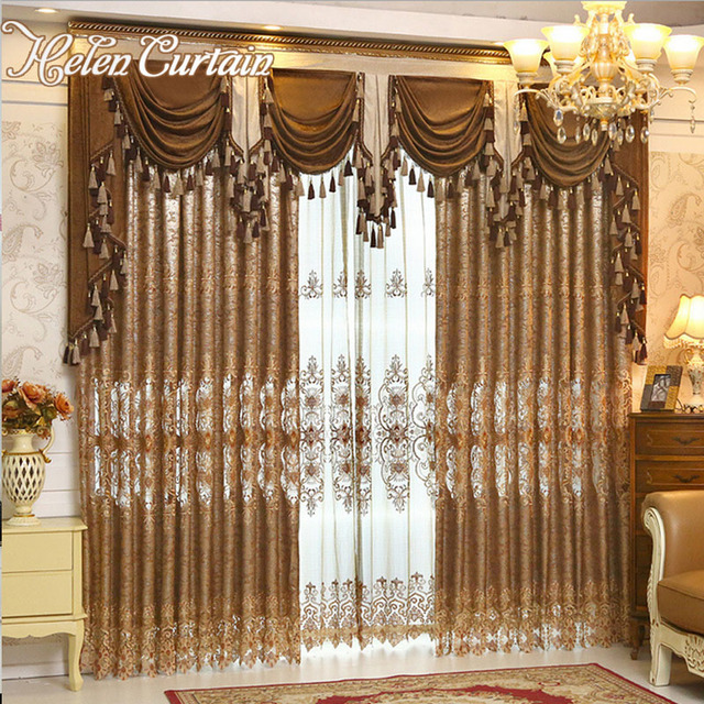 Helen Curtain Luxury Gold Embroidered Curtains For Living Room European Style Valance Window Treatment Decorative