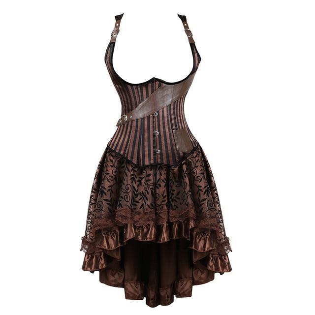 ab6d394312 plus size vintage steampunk corsets underbust dress burlesque gothic pirate corset  bustier faux leather skirts set brown women