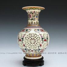 Jingdezhen ceramiczne pastele wycinanka wazon podwójna warstwa kości słoniowej waza porcelanowa dekoracja tanie tanio YELLOW Nowe klasyczne Postmodernistyczne Wazon na stolik countertop vase