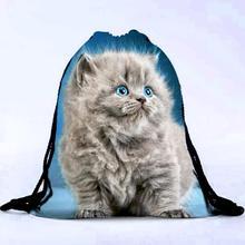Jasmine Traveling Unisex Cat Backpacks 3D Printing Bags Drawstring Backpack Sep26
