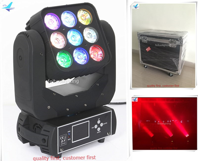 4pcs/lot flycase Disco Stage Beam 9x12w Matrix Moving Head Light LED RGBW 4in1 Lyre Wash Mobile Head Beam Luces Show DJ Lighting