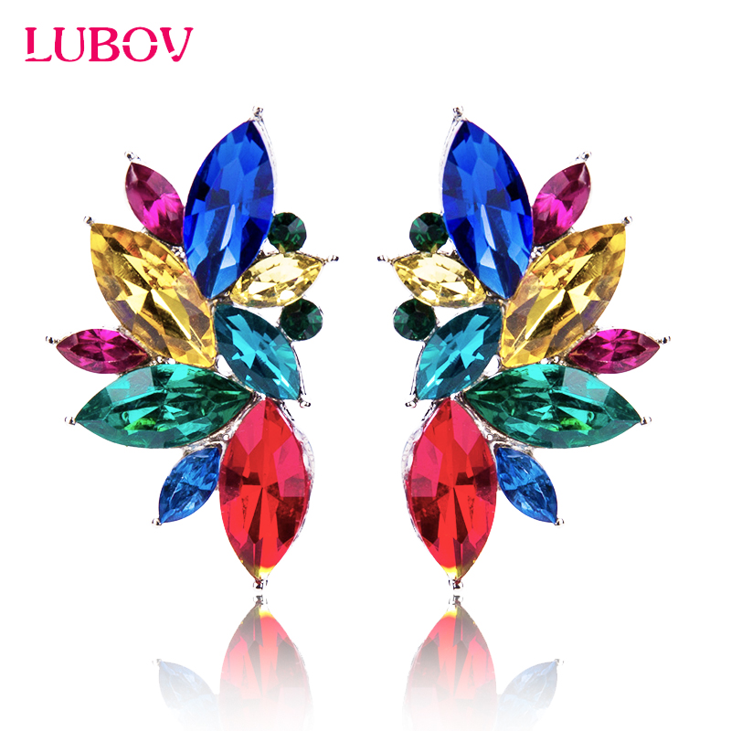 LUBOV Colorful Opal Stone Stud Earrings For women Christmas Party 2018 Elegant Crystal Earrings For Women /Girls Gifts wholesale