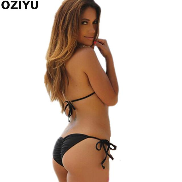 f55b90d684de Bandage Brazilian Bikini Swimwear push up Pad/Scrunch Bottom Butt Swimsuit  women Thong bikinis SET G-string Bath suit DROP ship