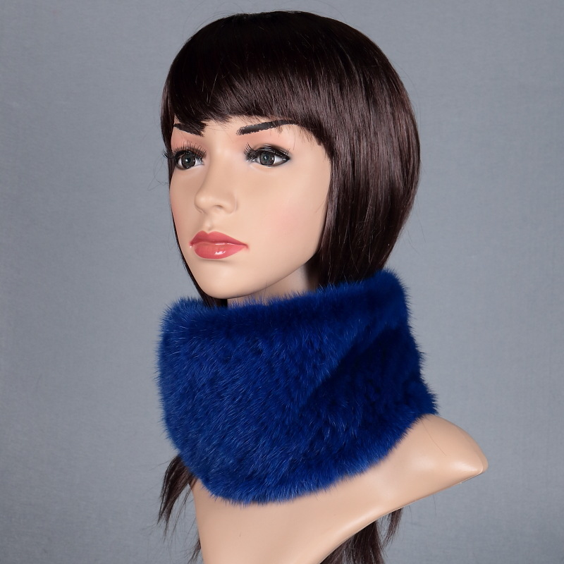 2016 New Womens Real Knitted Mink Muffler Ladies Natural Mink Fur Scarf Winter Solid Neckerchief