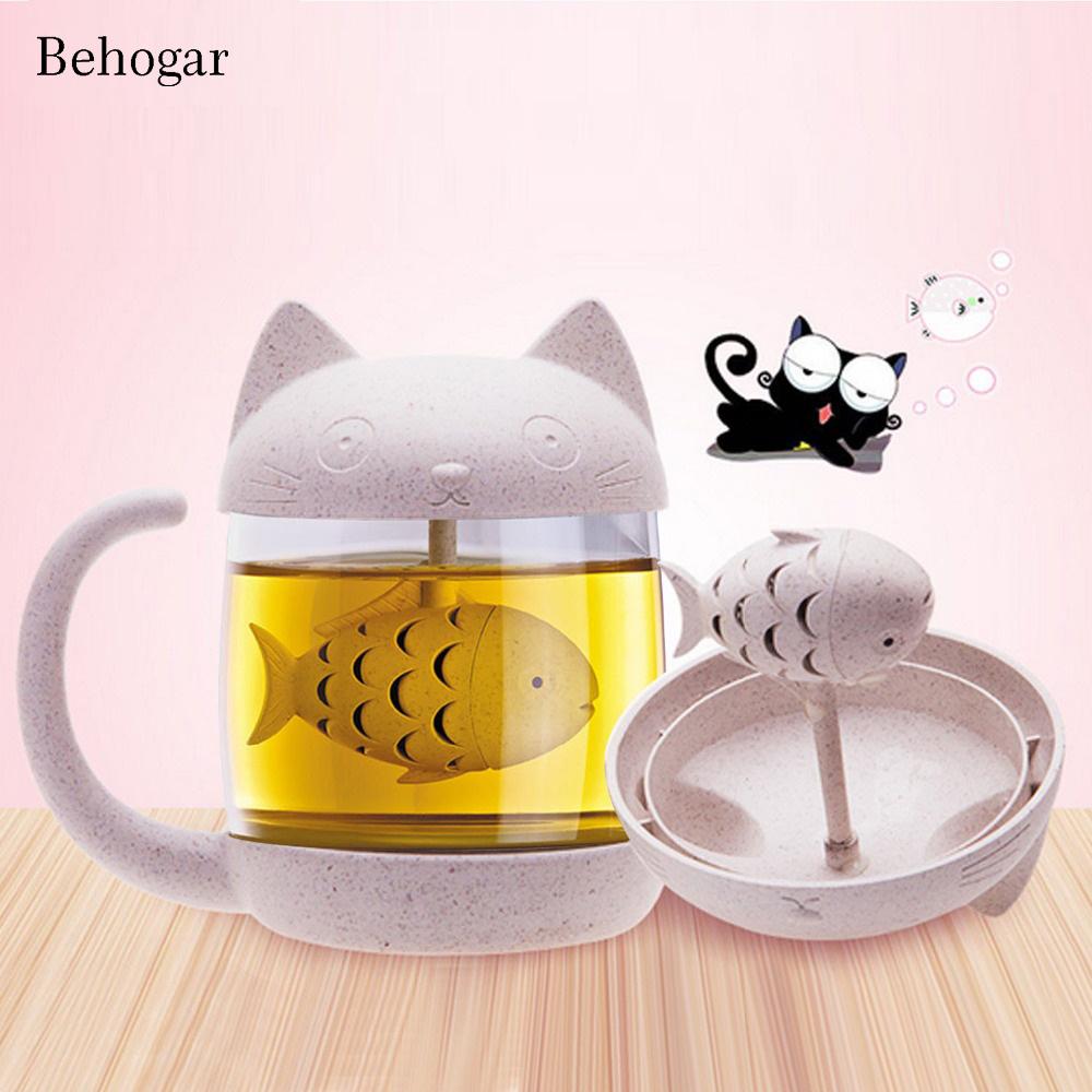 Behogar 250ml 8oz Cute Monkey Cat Novelty Glass Tea Mug Coffee Cup Water Bottle Infuser Strainer Filter Christmas Birthday Gift