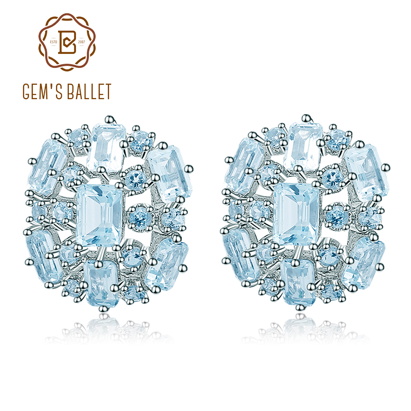 GEM S BALLET Natural Sky Blue Topaz Clip Earrings Pure 925 sterling silver Flower Gemstones Earrings