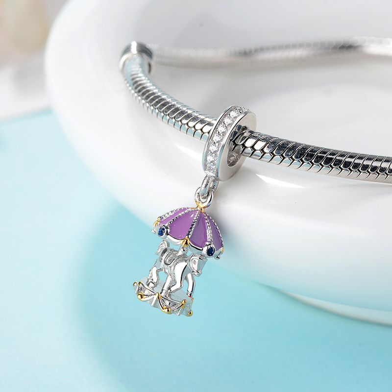 100 925 Sterling Silver Blue CZ and purple Carousel Beads Fit Original original DIY Charm Bracelet For Girl Jewelry making gift in Beads from Jewelry Accessories