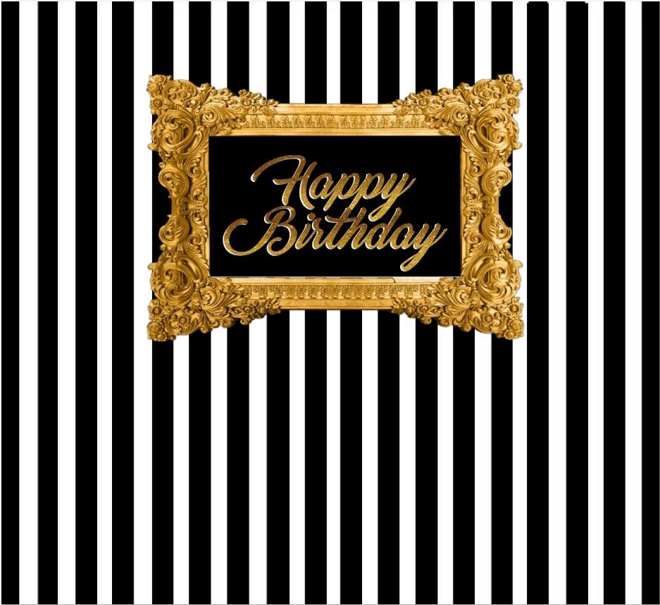 7x5ft Black White Stripes Wall Gold Frame Happy Birthday Custom