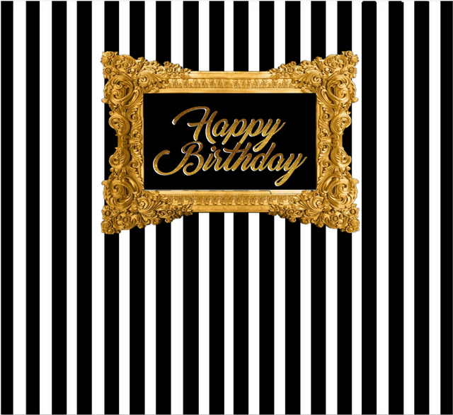 7x5ft Black White Stripes Wall Gold Frame Happy Birthday Custom