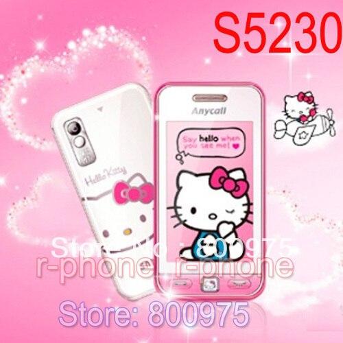 "Unlocked orijinal SAMSUNG S5230 Hello kitty S5230c 2G GSM cep telefonu 3.0 ""3MP dokunmatik ekran yenilenmiş cep telefonu"