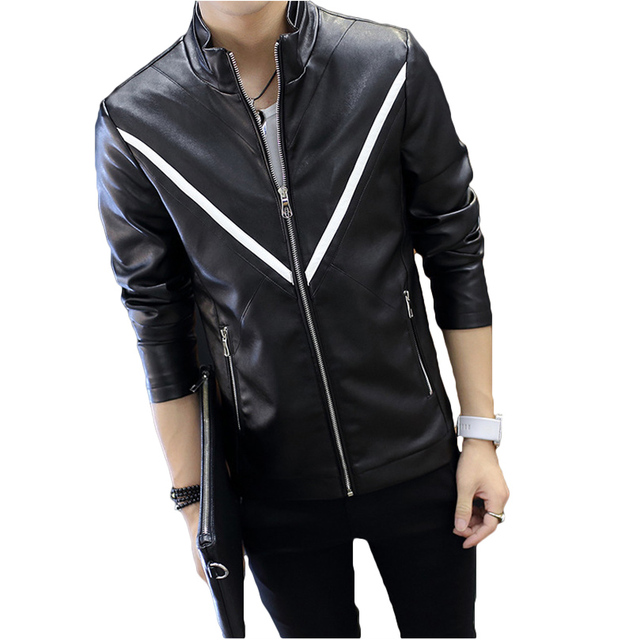 2016 Autumn PU Leather Jacket Men Stand Collar Windbreaker Coat Male Zipper Pockets White Motorcycle Jackets Korean Slim Suede