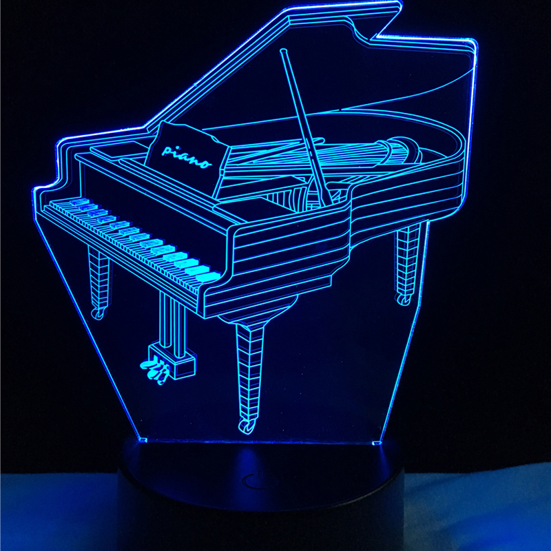 Music Instrument Retro Piano 3D USB LED Lamp 7 Colors Bulb Musician Gift Child Bedroom Decoration Elegant Night Lights RGB Lava piano books for the young musician