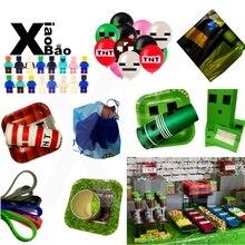Добыча пикселей игра вечерние поставки бумажный стаканчик, тарелка сумка баннер шар игрушечный браслет салфетка Tablecover мультфильм праздничный подарок на день рождения