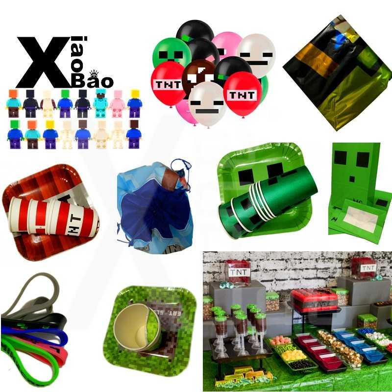 Mijnbouw Pixel Game Party Supply Papier Cup Plaat Tas Banner Ballon Speelgoed Polsband Servet Tafelkleed Cartoon Feestelijke Verjaardagscadeau