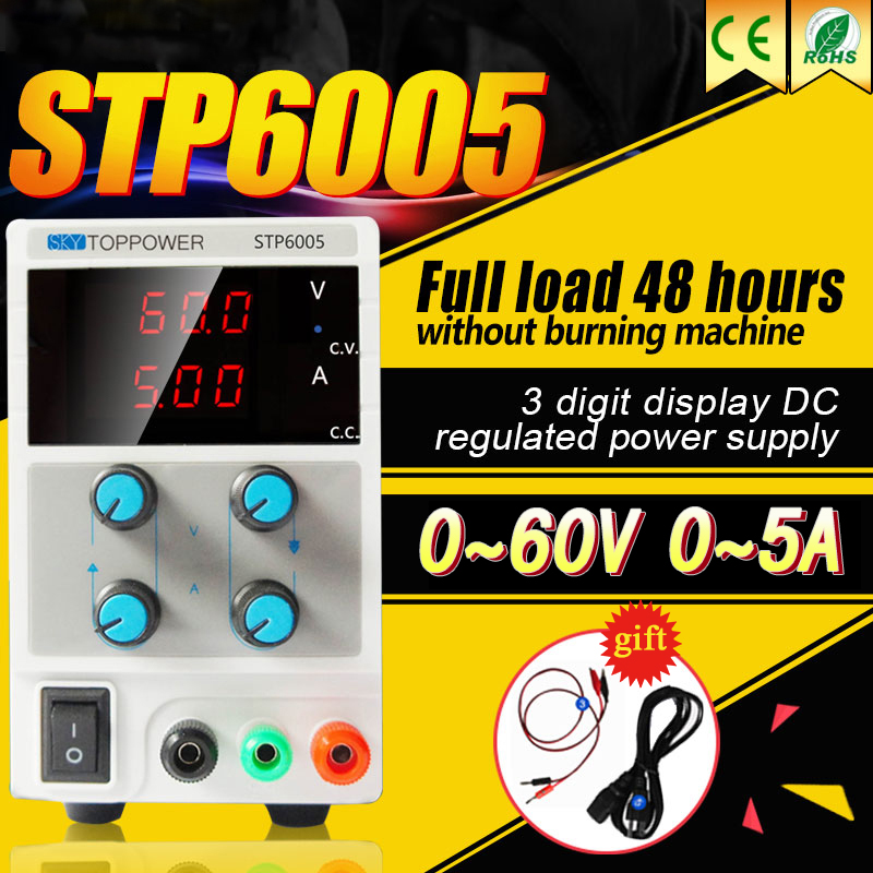 Laboratory Power Supply 60V 5A Voltage Regulator Adjustable DC Power Supply 300W Foot Power with Alligator Cable,AC Power Cord rps3020d 2 digital dc power adjustable power 30v 20a power supply linear power notebook maintenance