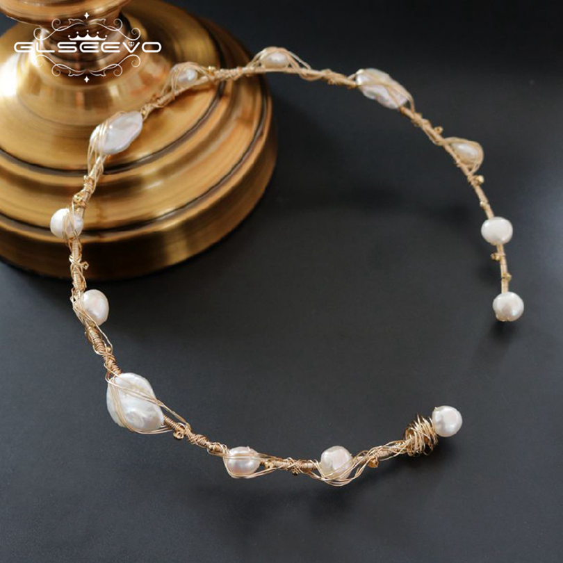 GLSEEVO Natural Fresh Water Baroque Pearl Choker Necklace Gifts For Women Necklaces Luxury Fine Jewellery Collana Donna GN0057 glseevo natural fresh water pearl chokers necklace for women handmade necklaces luxury fine jewelry gargantilha kolye gn0047
