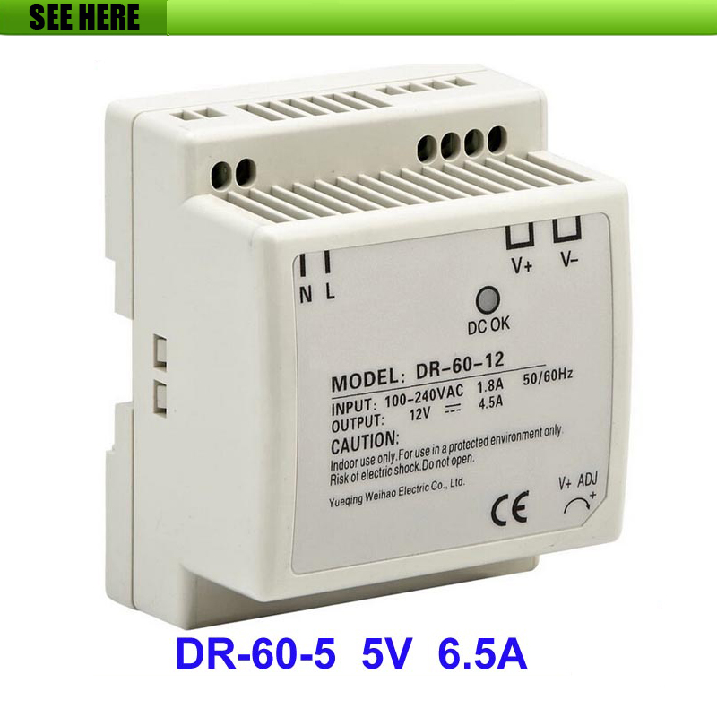 Free Shipping Din rail Single Output Switching Power Supply DR-60-5 60W 5V 6.5A AC To DC Converter