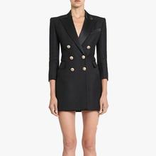 En kaliteli Paris moda 2020 pist tasarımcı elbise kadın 3/4 kollu Metal aslan düğmeler çentikli yaka elbise