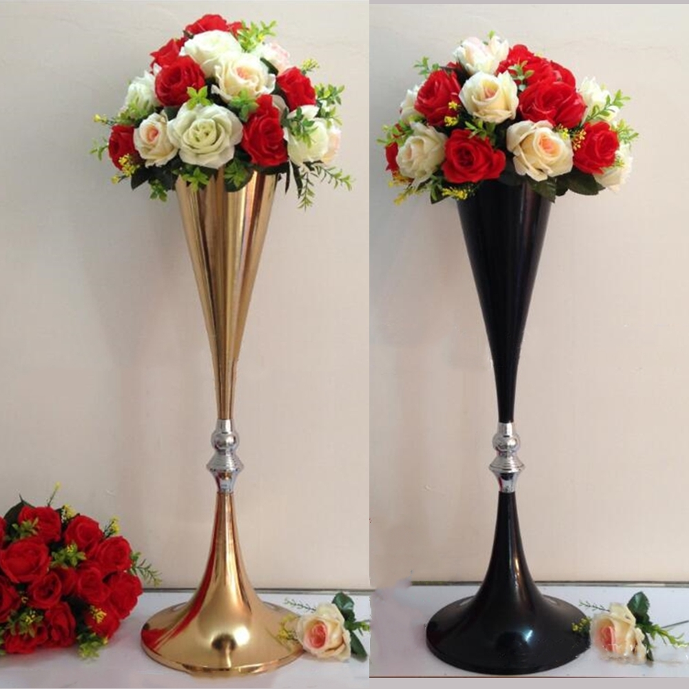 Flower Vases For Weddings: 70cm Height Gold/ Black Metal Wedding Centerpiece Flower