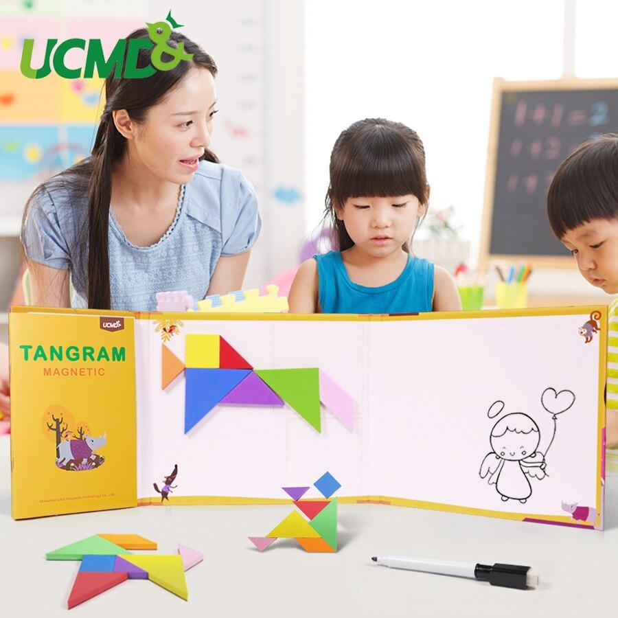 Magnétique 3D EVA Puzzle Tangram Jeu Montessori Apprentissage Éducatif Planche à Dessin Jeux Jouet Cadeau pour Enfants Cerveau Tease