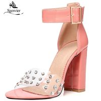 SGESVIER New Thick Square Heel Women Sandals 2018 Summer Shoes Open Toe Ankle Strap Women Sandals