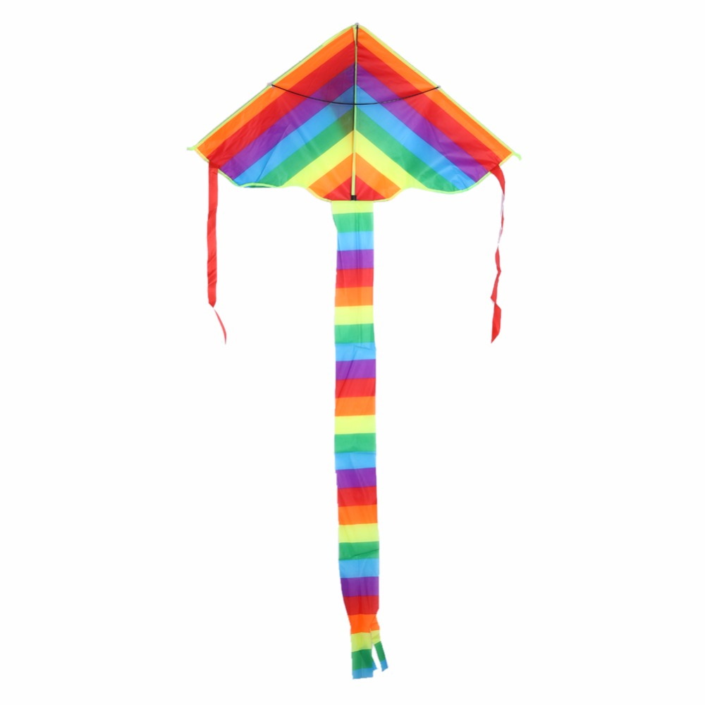 Rainbow Kite Outdoor Long Tail Nylon Toys for Kids Children's Kite Stunt Kite Surf without Control Bar and Line Kites