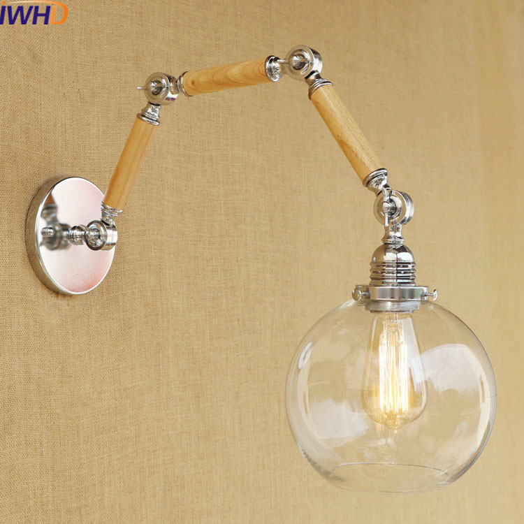 IWHD Loft Industrial Vintage Wall Lamp Bedside Led Wall Light Up Down Glass Lampshade Edison Bulb Lights Fixture Iron Wandlamp haptime led wake up bedside light fashion hand touching up
