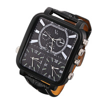Fashion Black Quartz Watch Men S Business Leisure PU Leather Strip Three Clock Dials White Square