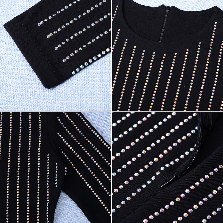 Seamyla 2019 Luxury Beaded Strips Long Dress Women Sexy Black Runway - Women's Clothing - Photo 6