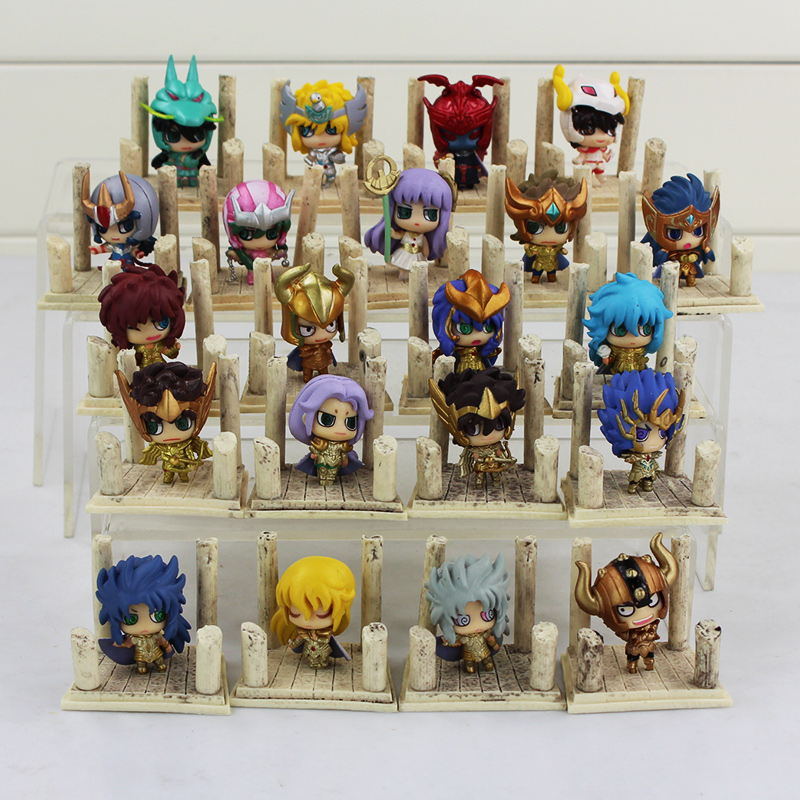 7pcs/lot Anime Saint Seiya Egg Box Q Version The Gold Zodiac PVC Action Figures Model Toys Kids Birthday Gifts 4cm With Box the little old lady in saint tropez