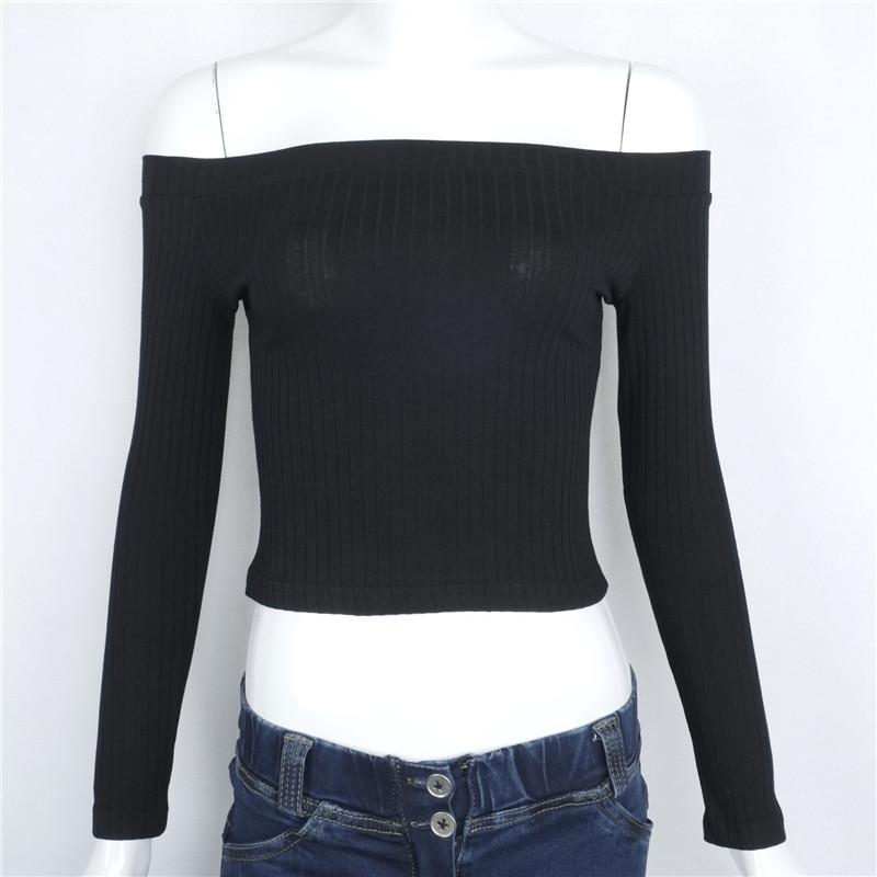 HTB18DFONpXXXXcMapXXq6xXFXXX0 - Slash Neck White T-shirt Women Cropped Tops JKP032