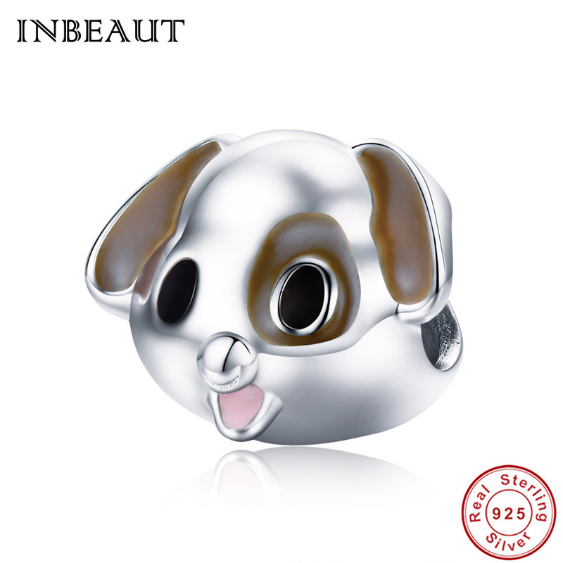 INBEAUT 100% Real 925 Sterling Silver Naughty Cute Little Dog Beads fit Pandora Charm Bracelet for Women DIY Jewelry Making