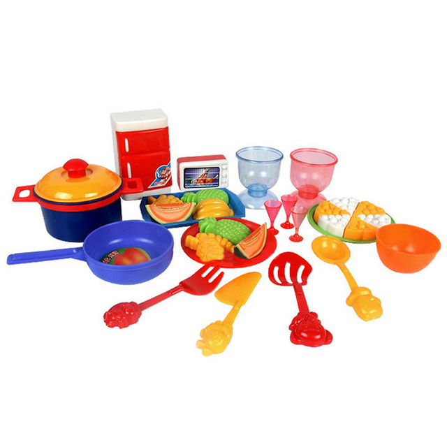 Play Kitchen Dishes 31pcs/set new dinner food dishes tableware kids pretend play