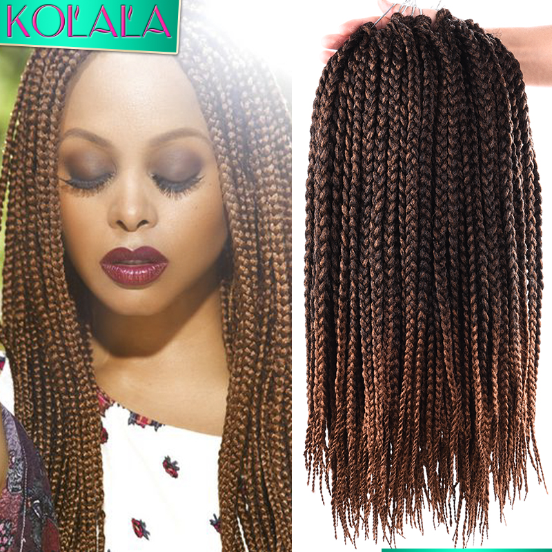 Braiding Hair Black Brown Ombre Tiny Box Braids Crochet Hair 18Inch ...