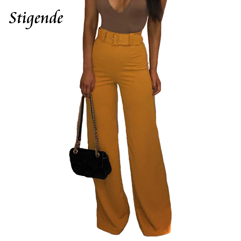 Stigende Casual Solid Belt Trouser Womens High Waist Wide Leg Straight Pants Ladies Elegant Trousers Pants Pantalones Mujer