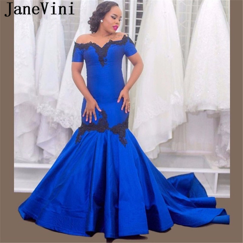 JaneVini Elegant Boat Neck Royal Blue Mermaid   Prom     Dresses   for Arabic Women with Black Appliques Short Sleeves Satin   Prom     Dress