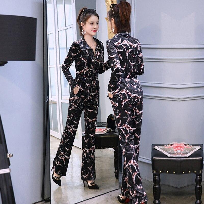 Manches Automne 2018 Mode Lq305 À Slim Loisirs Pour Nouveau Combinaisons Black Longues Or Femmes Velours Body Size green Vêtements Plus Printemps xfqp5Zwn