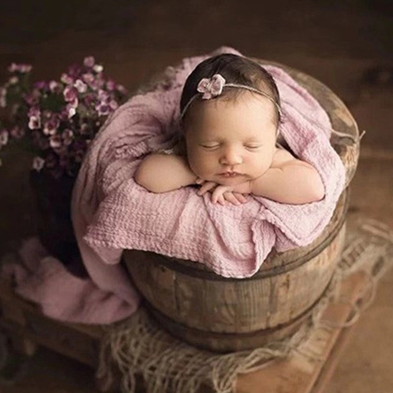 Ylsteed Stretch Cotton Newborn Wrap Baby Photo Props Soft Bubble Swaddle Newborn Photography Wraps Basket Suffer Blanket