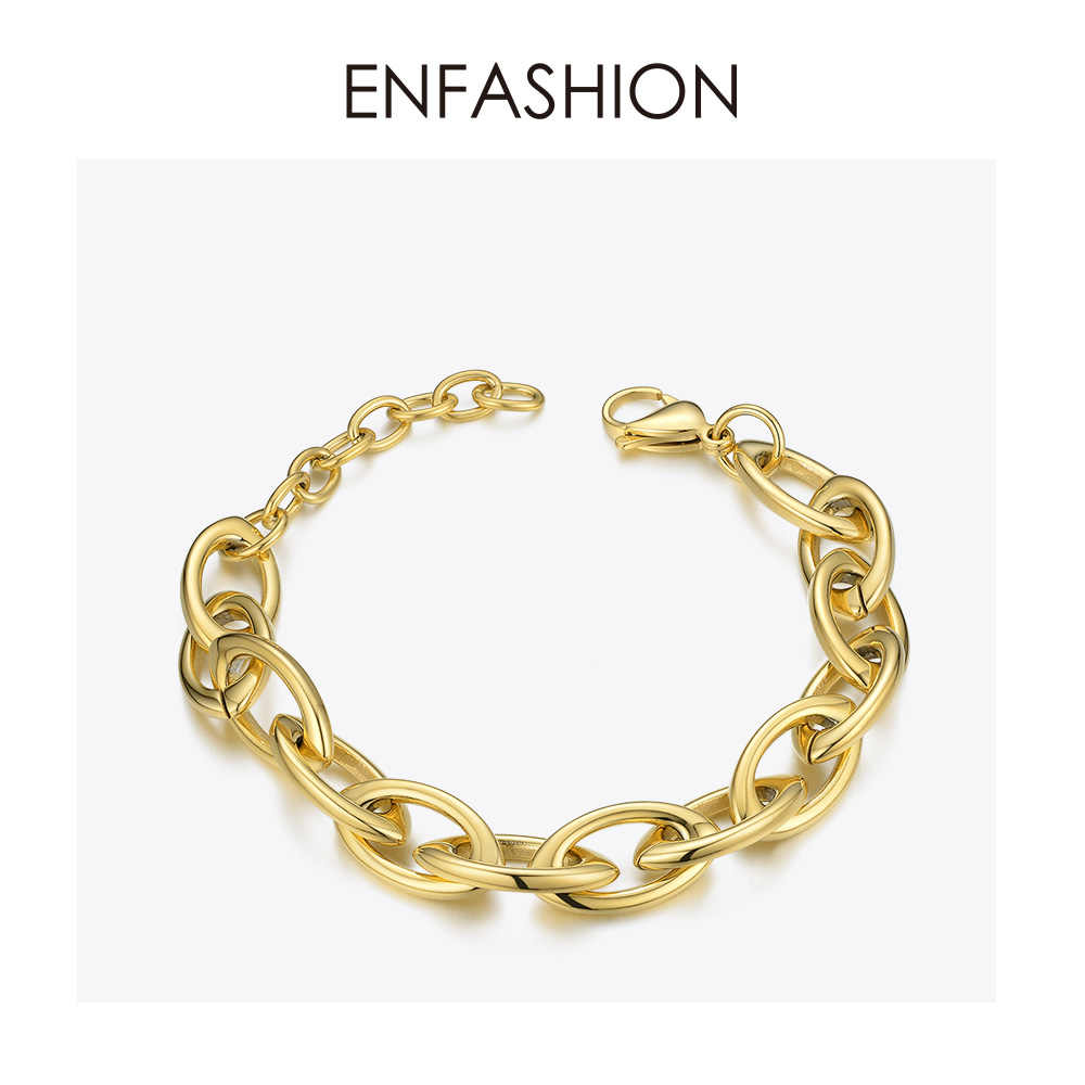 ENFASHION Punk Link Chain Bracelets Bangles For Women Gold Color Stainless Steel Thick Chain Bracelet Fashion Jewelry BM192012