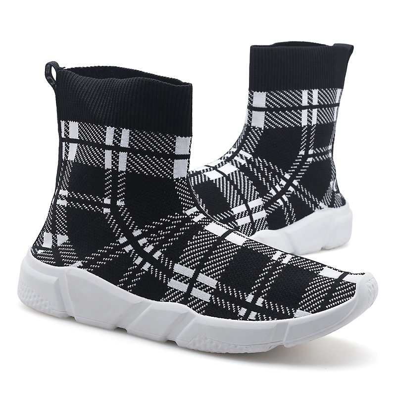 dc331b5f2124b Mens Breathable Knit Sock Shoes Flying Platform Shoes High Top Fashion  Outdoor Ankle Boots Comfortable Mesh Slip on Shoes -in Men s Vulcanize Shoes  from ...