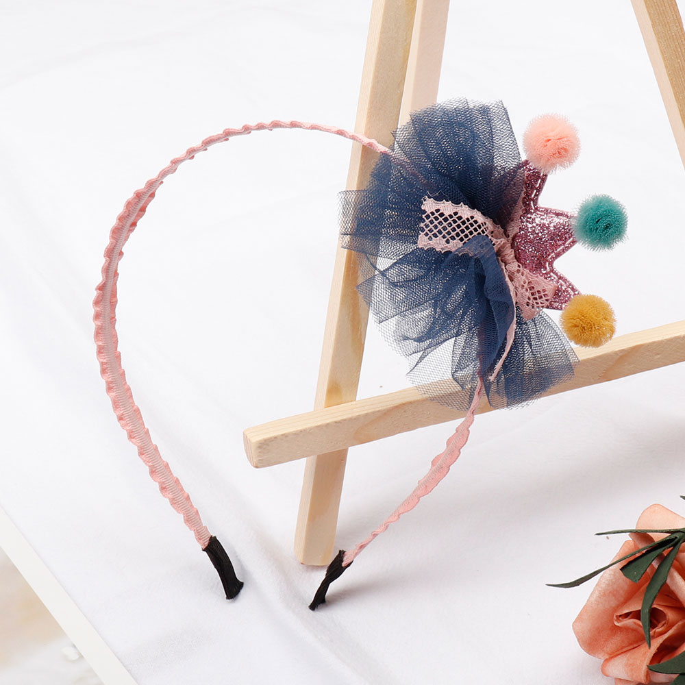 Lace Flower Hair Band With Sequin Crown Patch Headband For Girls/Kids High Quality Headwear Elastic Hairbands Hair Accessories