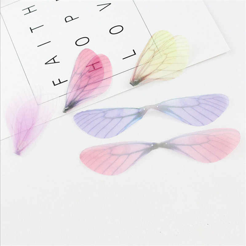 20pcs/lot new creative charms chiffon yarn dragonfly wing pendant connector for diy earrings jewelry making material accessories