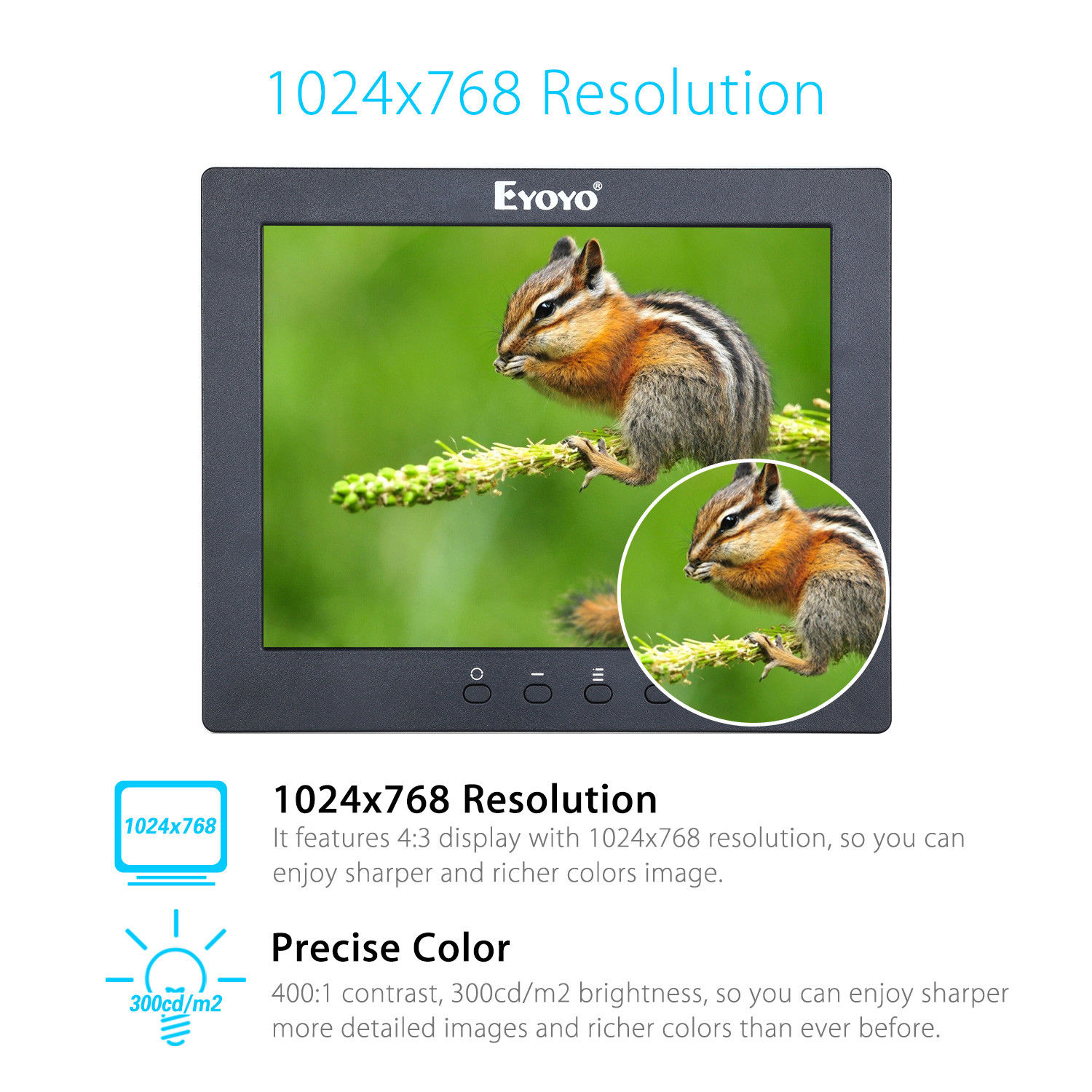 Eyoyo S801T LCD Screen Display Monitor 8 1024x768 With BNC/HDMl Output Built-in Loudspeakers For CCTV DVD PC Laptop DVR Camera eyoyo g08 160 degree 8 inch 400 1 tft lcd monitor screen 4 3 1024 768 hdmi av vga video audio for cctv fpv with loudspeaker