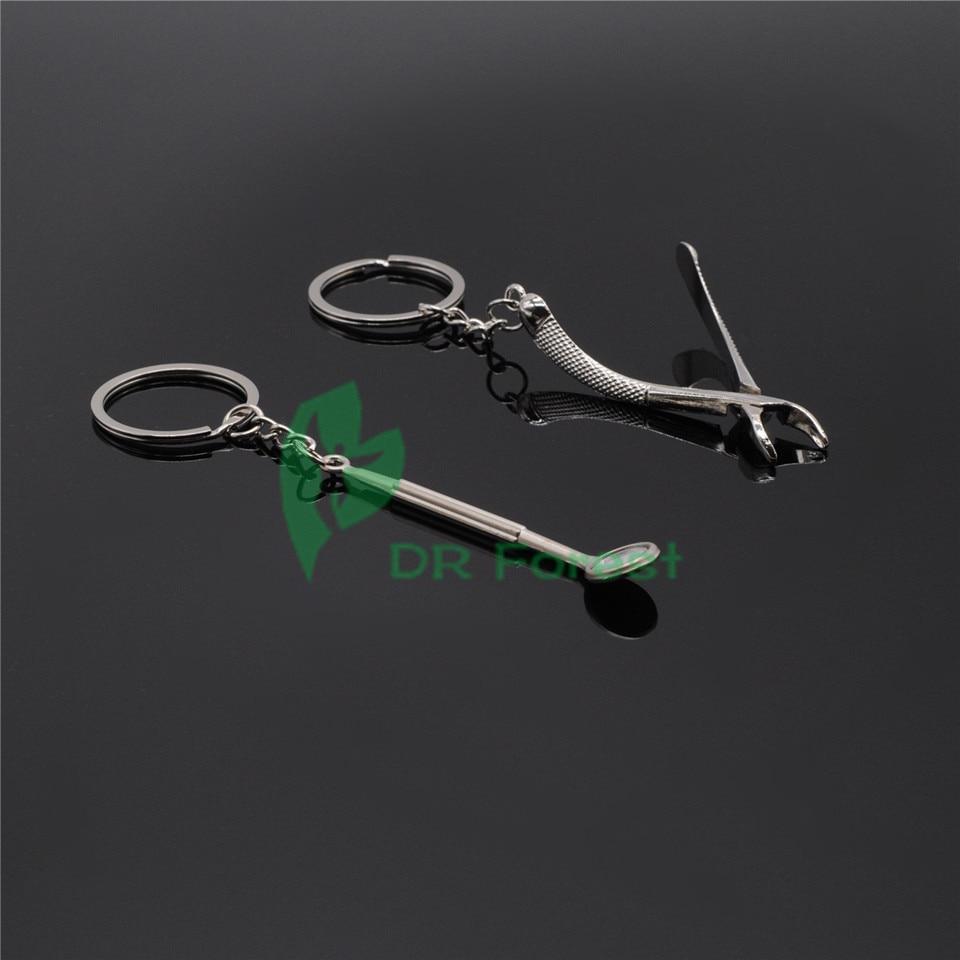 Dental lab 2Pcs Key Ring Chain Tool Cute Mirror Forceps Dentist Promo Gift in Teeth Whitening from Beauty Health