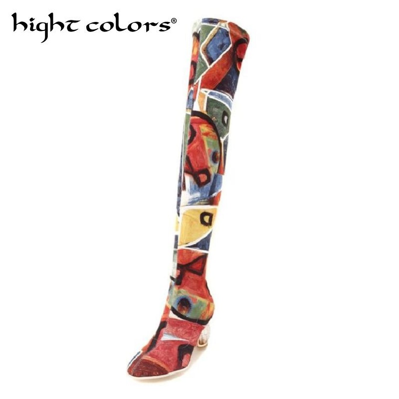 все цены на 2018 New Elastic Stovepipe Socks Boots For Women Fashion Over the Knee Boots Crystal High Heels Shoes Woman Sapatos