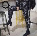 2017 Chinese style punk rock hiphop omighty satin golden Dragon and Phoenix totem sweatpants pants loose pantalon femme