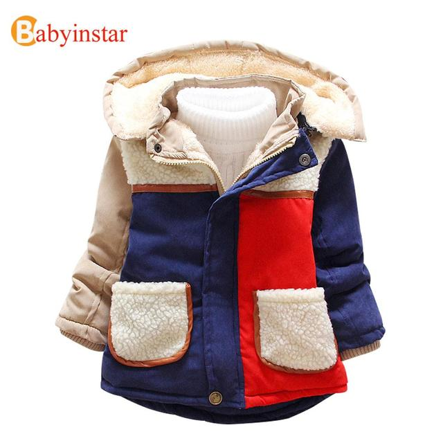 Autumn Winter Boys Girls Warm Coat Outerwear Long Sleeve Patchwork Children Parka with Pocket Thick Kids Parkas