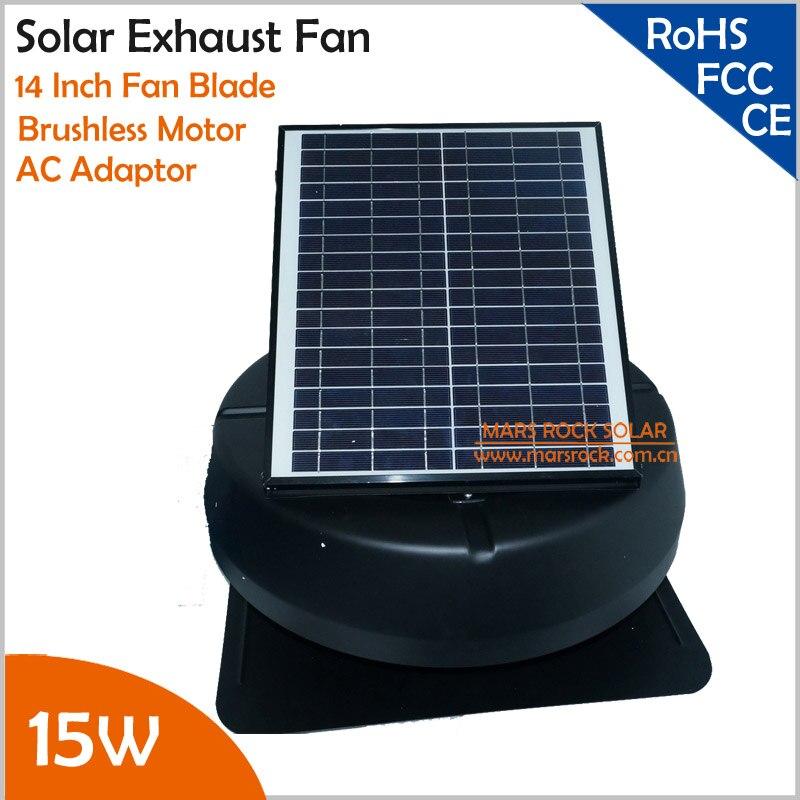 15 W réglable panneau solaire sans brosse moteur solaire ventilateur d'échappement adaptateur AC assorti
