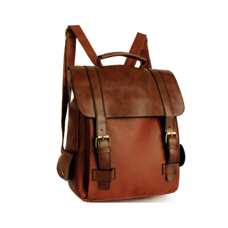 2019 Fashion Women Leather School Vintage Backpack Men Small Schoolbag  Mochila Feminina Brown Black Backpacks Kanken Sac A Dos-in Backpacks from  Luggage ... 97a523c277e79